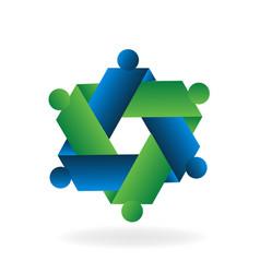 Hexagon abstract teamwork icon vector
