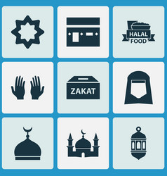 holiday icons set with pray shawl kaaba and vector image