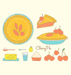 Home cooking cherry pie vector
