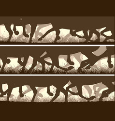 Horizontal banners silhouette galloping vector