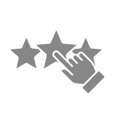 Human chooses a three stars rating gray icon vector