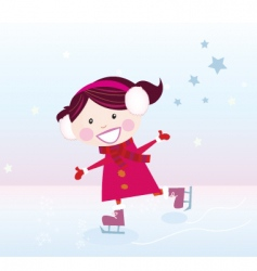Ice skating girl vector