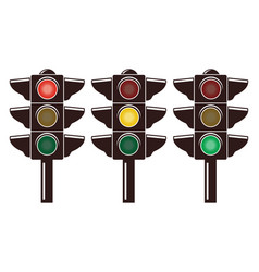 icons traffic light isolated on white vector image