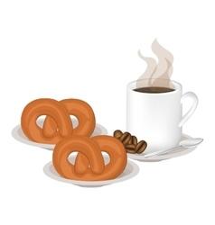 Isolated pretzel and coffee mug design vector