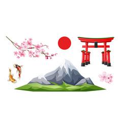 Japanese torii gate sakura koi carp vector
