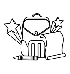 Line education backpack and paper with art crayon vector