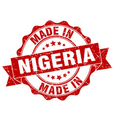 Made in nigeria round seal vector