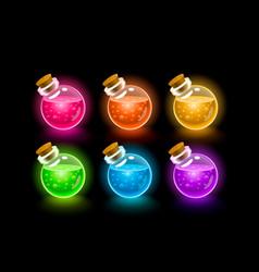 magic flasks color set dark background vector image