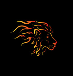 male lion head design on a black background wild vector image
