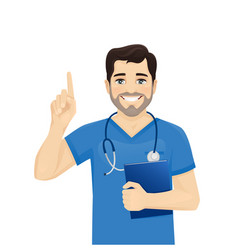 male nurse character pointing vector image