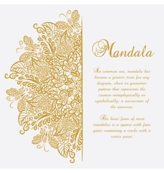 Mandala White background Gold ornament vector