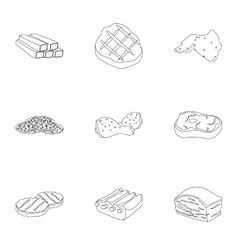 Meats set icons in outline style Big collection vector