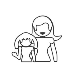 mother and daughter loving outline vector image