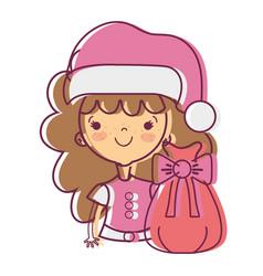nice girl with hat and christmas bag vector image