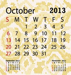 October 2013 calendar albino snake skin vector