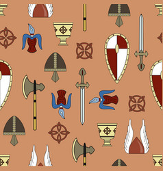 original seamless pattern about vikings life vector image