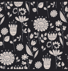 ornate flowers hand drawn seamless pattern vector image