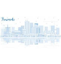 Outline kawasaki japan city skyline with blue vector