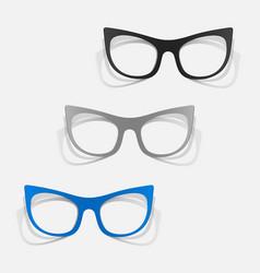 Paper sticker retro glasses vector