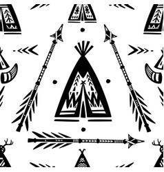Pattern with tee pee wigwam and arrows vector