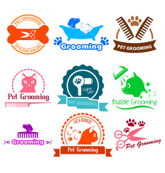 Pet grooming service business logos vector
