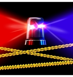 Police crime scene yellow tape and red with blue vector