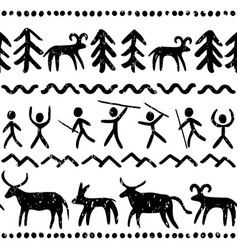 prehostoric cave paintings seamless pattern vector image