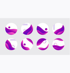 Purple liquid highlight story cover icons vector