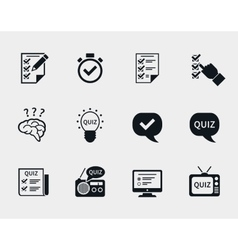 Quiz icon set vector