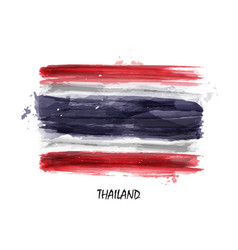 Realistic watercolor painting flag of thailand vector