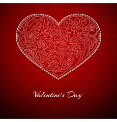 Red background white heart vector