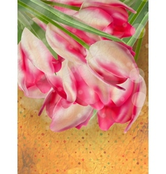 Retro card with tulips flowers EPS 10 vector