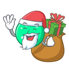 santa with gift circle mascot cartoon style vector image