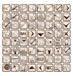 Sepia set of 64 stylish hotel icons vector