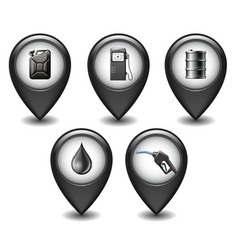 Set black glossy style map pointers with oil vector