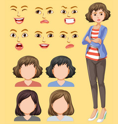 Set female head and facial expression vector
