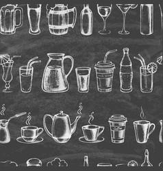 set hand drawn mugs and bottles vector image