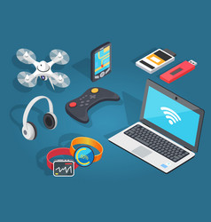Set of modern wireless technology in cartoon style vector
