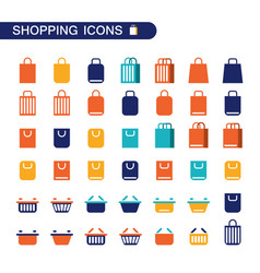 set of shopping nag and basket icons for web shop vector image