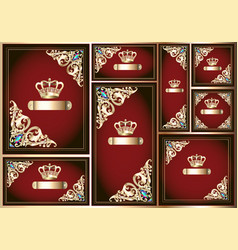 set royal cards with gold ornament and crown vector image