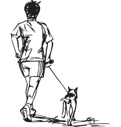 sketch of runner with dog vector image