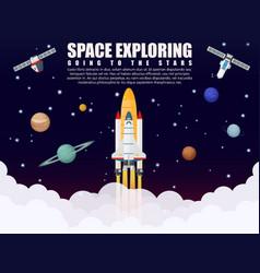 Space shuttle ship rocket launch exploring vector