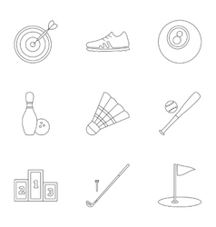 Sports equipment icons set outline style vector image