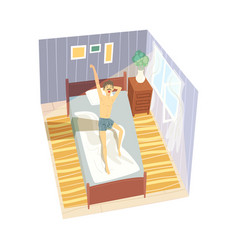 stretching man sitting on his bed after getting up vector image