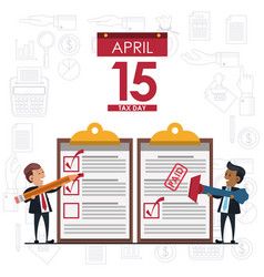 Tax day symbols and cartoons vector