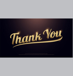 thank you golden logo calligraphy lettering vector image