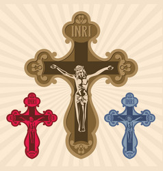 The cross with the crucifixion of jesus vector