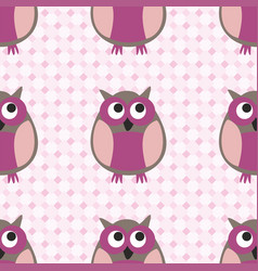 tile pattern with owls on pink plaid background vector image
