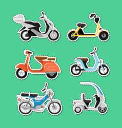 Vintage and modern scooters labels set vector