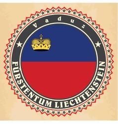 Vintage label cards liechtenstein flag vector